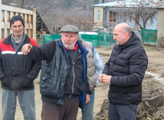 The new road is being built in Mtskhetijvari village