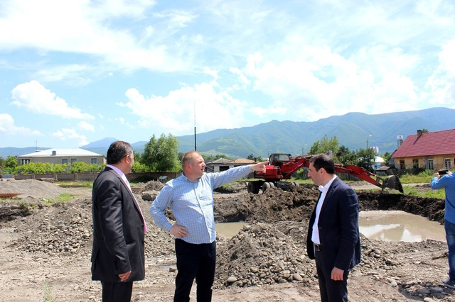 Sport complex construction process was attended by the active governor of Shida Kartli, Ioseb Okromelidze.