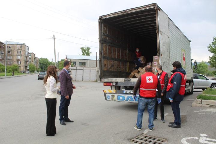 The Red Cross Society provided food parcels to the beneficiaries of Shida Kartli region