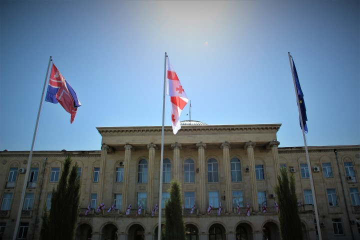 A Flag was risen  at Gori Central Square to celebrate May